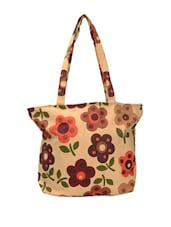 Beige Tote With Floral Prints - Art Forte