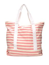 Baby Pink And White Striped Tote - Art Forte