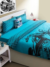 Blue Bike Print Bed Cover - HOUSE THIS