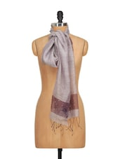 Hand Woven Glossy Silk Scarf With Crystals- Purple - WELKIN