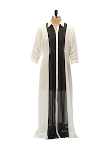 Monochrome Sheer Shirt Dress - AND