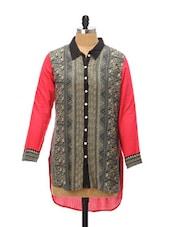Monochrome Tribal Print Tunic Shirt - Global Desi