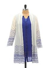 Ethereal Blue And White Shirt Tunic - Global Desi