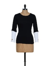 Round Neck Black Top With Monochrome Sleeves - 335th
