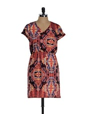 Multi-coloured Tribal Print Casual Summer Dress - Sohniye