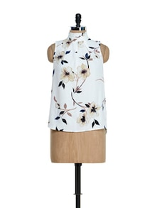 Off-white Floral Print Collar Band Top - Ozel Studio