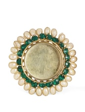 Green Tea Light Candle Holder With Pearl And Rhinestone Embellishments - Ambbi Collections
