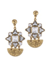 Stunning White Stone Studded Floral Pattern Earring With Golden Hammered Effect - CIRCUZZ