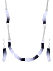 Shaded Grey & White Acrylic Beads And Silver Pattern Necklace With Earrings - CIRCUZZ