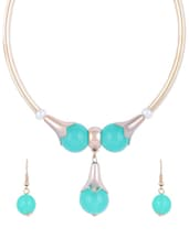 Vibrant Blue Acrylic Beads And Silver Pattern Necklace With Earrings - CIRCUZZ