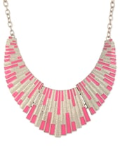 Enameled Pink And Gold Necklace - CIRCUZZ