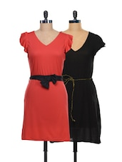 Red And Black Set Of 2 Dresses - @ 499