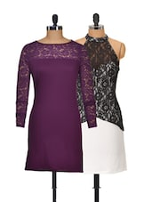 Wine And Black Set Of 2 Dresses - @ 499