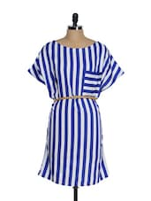 Navy Blue And White Striped Dress - Tops And Tunics