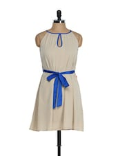 Beige Casual Dress With Royal Blue Belt - Tops And Tunics