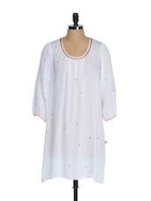 White Full Sleeved Tunic With Thread Embroidered Neck - Tops And Tunics