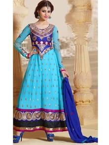 Sky Blue Embroidered Long Anarkali Suit - Khantil