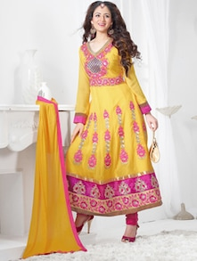 Yellow Embroidered Anarkali Suit - Khantil
