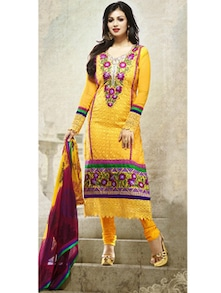 Yellow Embroidered Suit - Khantil