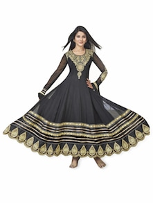 Black Embroidered Anarkali Suit - Khantil