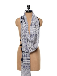 Navy Blue Printed Viscose Scarf - Red Lorry