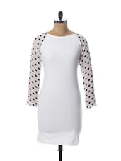 White Dress With Sheer Polka Dotted Sleeves - Miss Chase