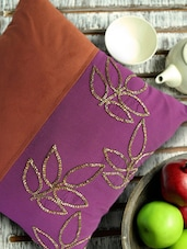 Embellished Purple And Brown Cushion Cover - Per Inch