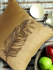 Feather Printed Gold Cushion Cover - Per Inch