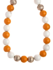 Orange And White Necklace With Beads And Stones - Fashion Essentials