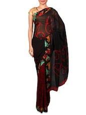 Black And Red Printed Georgette Saree - By