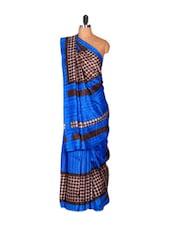 Vibrant Blue Saree With Brown Polka Dots - Saraswati