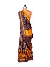 Brown And Yellow Printed Saree - Saraswati