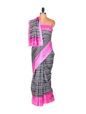Printed Grey Saree With Pink Border - Saraswati