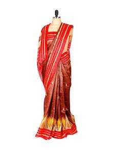 Glossy Brown And Red Printed Saree - Saraswati