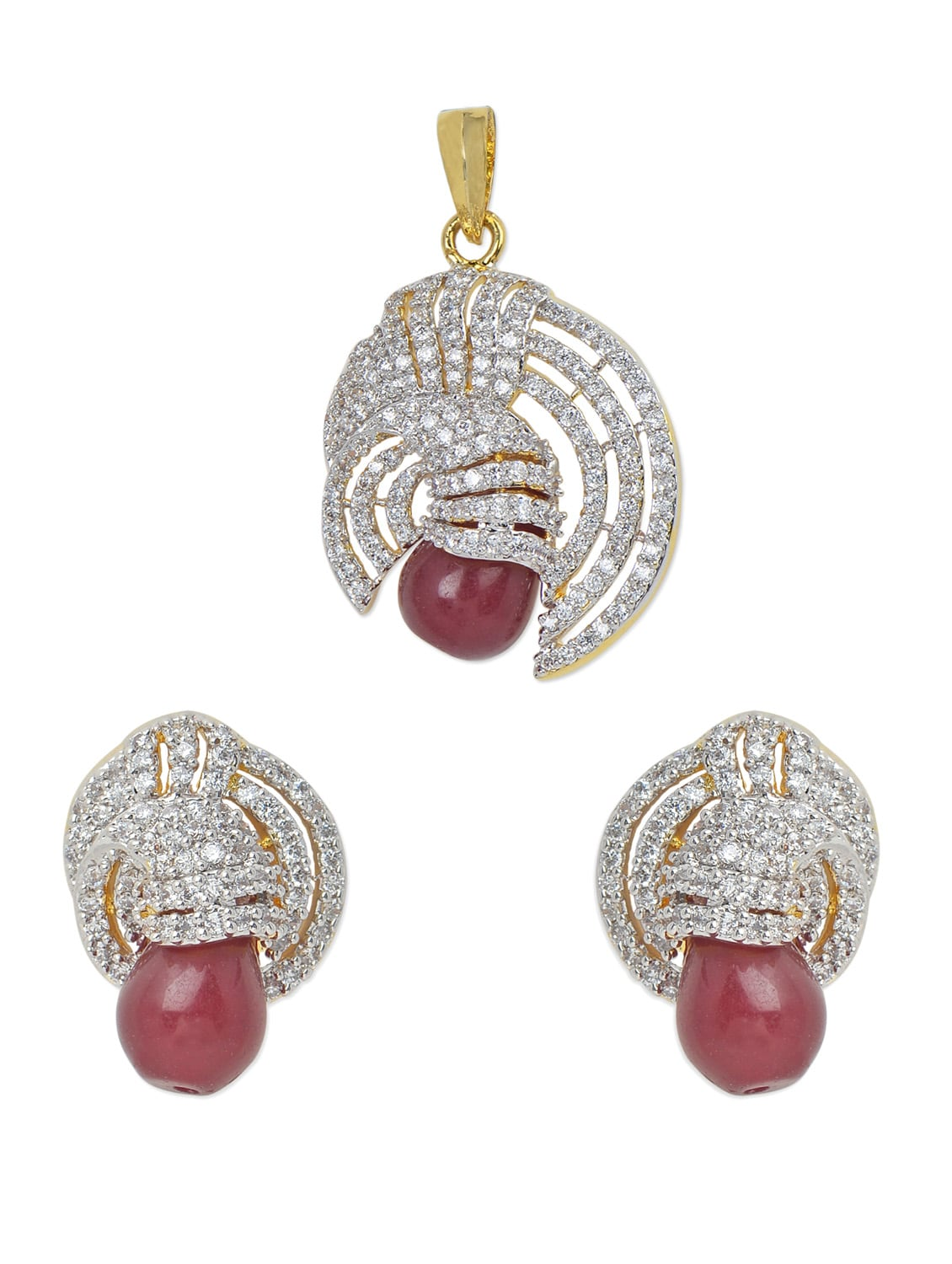 Pendant Set With American Diamond And Ruby Drops - Mirage Creations