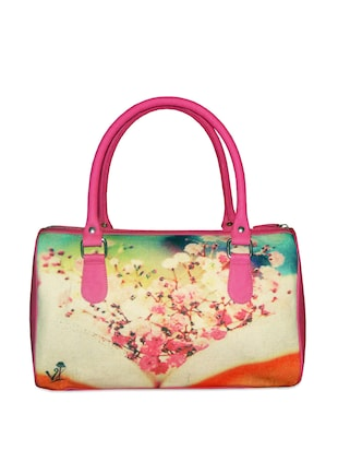 Pretty fuchsia pink handbag with notebook and petal prints