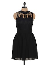Black Sleeveless Lace Trimmed Dress - Besiva