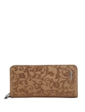 Brown Floral Print Leather Purse - Lino Perros