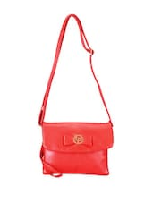 Red Leather Sling Bag - Lino Perros