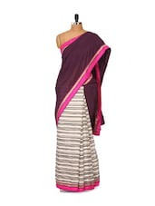 Black And Pink Bhagalpuri Silk Saree - Purple Oyster