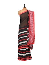 Black And Red Georgette Saree - Purple Oyster