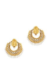 Temple Earrings With White Stones - Alankruthi
