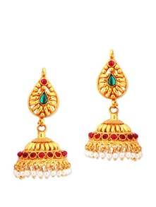Temple Jewellery Jhumkas With Stones - Alankruthi Best Deals