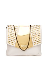 Stylish White Base Sling Bag With A Golden Flap And Rivets - 3 MAD CHICKS