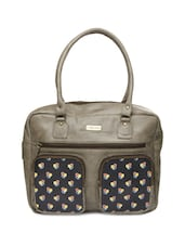 Basic Brown Tote Bag With Black Floral Print Pockets In The Front - 3 MAD CHICKS