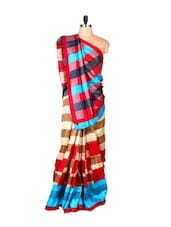 Striped Colourful Bhagalpuri Silk Saree - Fabdeal