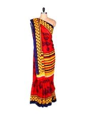 Red And Yellow Printed Saree With Blouse Piece - PetraFab