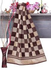 Brown Checkered Cotton Bath Towel - Aqua Pearl