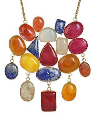 Trendy Multi-coloured stone necklace