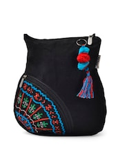 Stunning Black Sling Bag With Colorful Embroidery And Woolen Balls Key Chain - Pick Pocket